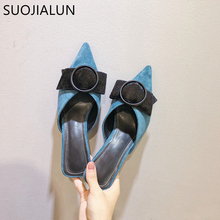 SUOJIALUN Pointed Toe Elegant Women Mules Slippers 2019 New Med Heel Ladies Sandals Slip On Loafers Outsides Female Slides недорого