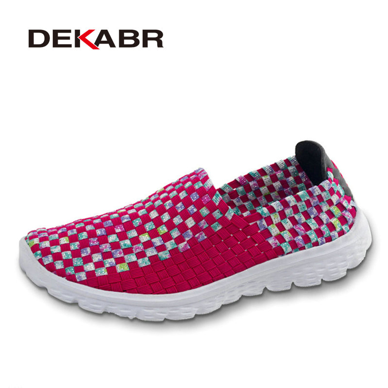 DEKABR Women Woven Shoes 2017 Summer Breathable Handmade Shoes Fashion Comfortable Women Flats Casual Beach Shoes Size 35~41 electric lifting magnet holding electromagnet lift 5kg solenoid 25mm od 24v