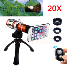 On sale Phone Camera Lentes Kit 20x Zoom Telephoto Telescope+Tripod+Case+Fish eye Wide Angle Macro Lens For iPhone 4 4s 5 5s 6 6s 7 Plus