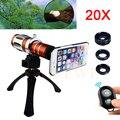Teléfono Kit de Lentes de La Cámara 20x de Zoom Teleobjetivo Telescopio + Tripod + Case + ojo de Pez Gran Angular lente macro para iphone 4 4s 5 5s 6 6 s 7 Plus