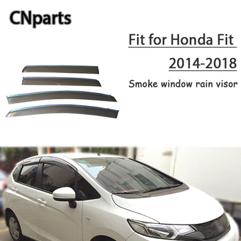 CNparts 4pcs ABS For Honda Fit Hatchback 2014 2015 2016 2017 201 Car Smoke Window Visor Keep  Fresh Air  convection Accessories