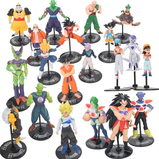Pacote de 20 Dragon Ball Z Figuras Brinquedos Conjunto 10 cm Freeza Dragon Ball Z GT Ação Figura Super Saiyan Celular son Goku Gohan Modelo Bonecas
