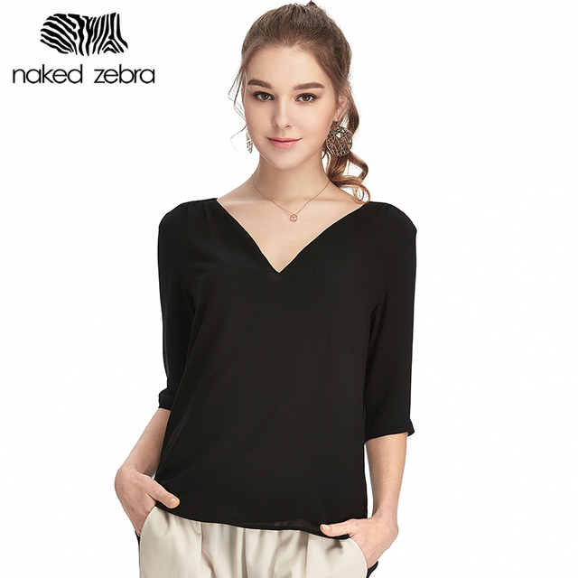 f9df823d00996 NAKED ZEBRA Women Summer 2017 New Chiffon Shirt Black Solid Color 100%  Polyester Material Casual Style Femme Chiffon Shirt