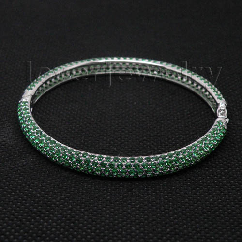 Hot Bracelet Bangle-14Kt White Gold Natural Emerald Engagement Bracelet Bangle,Emerald Bangle For Sale NA002