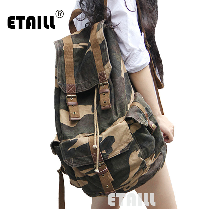 Camouflage Men s Vintage Canvas College Student School Backpack Rucksack Travel Bag Luxury Famous Brand Backpack