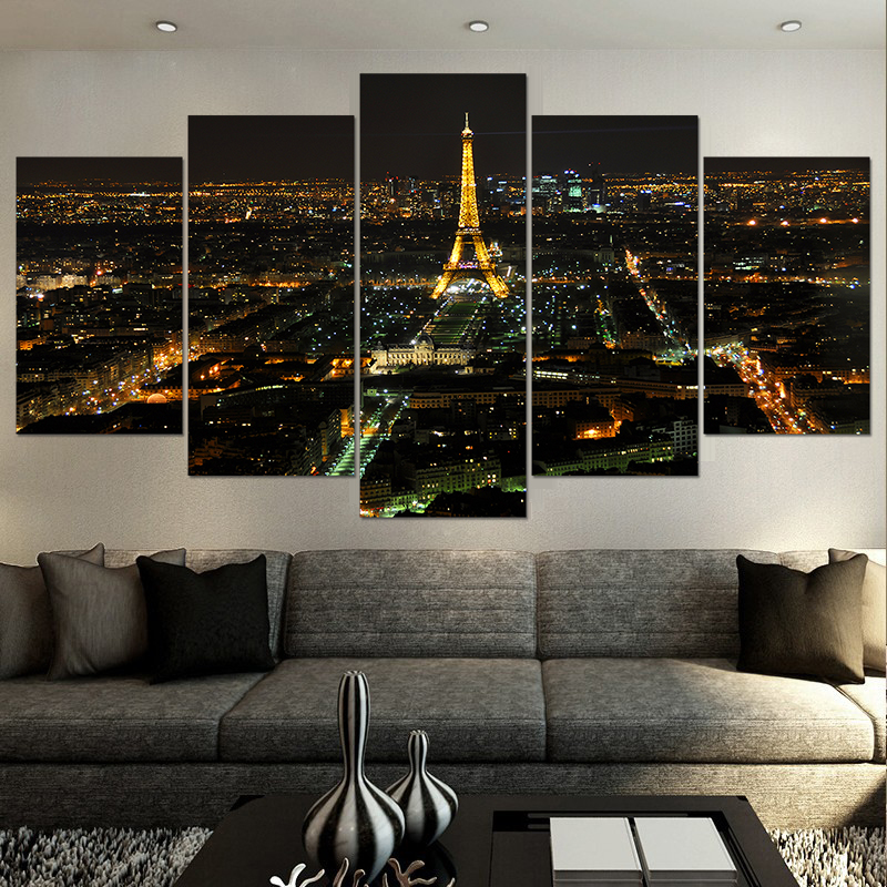 Modern Home decor living room decor Print Night Paris eiffel tower cityscape canvas Wall Art Picture