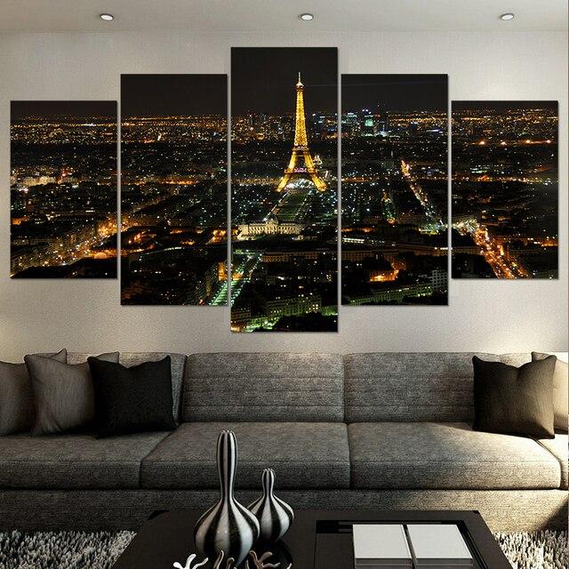 Moderne Wohnkultur Wohnzimmer Dekor Drucken Nacht Paris Eiffelturm  Stadtbild Segeltuch Wand Kunst Bild Drucken