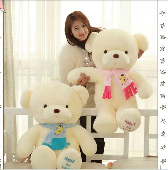 "huge 100cm lovely teddy bear "" happy for lover"" bear plush toy scarf bear doll , birthday gift b7907"