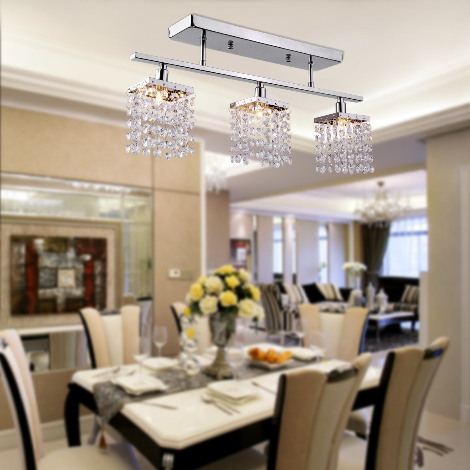 3 Light Hanging Crystal Linear Chandelier With Fixture, Modern Flush Mount  Ceiling Light Fixture For Entry Dining Room, Bedroom In Pendant Lights From  ...