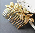 Fashion Women Hairpin Hair Combs Golden Leaves Hair Accessory Hair Clips Headwear For Charm Girl