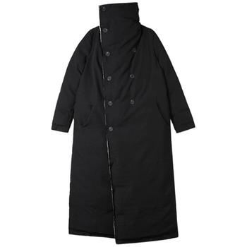 New Autumn Winter Stand Collar Long Sleeve Black double breasted Loose Drawstring Cotton-padded Coat Women Jacket Fashion
