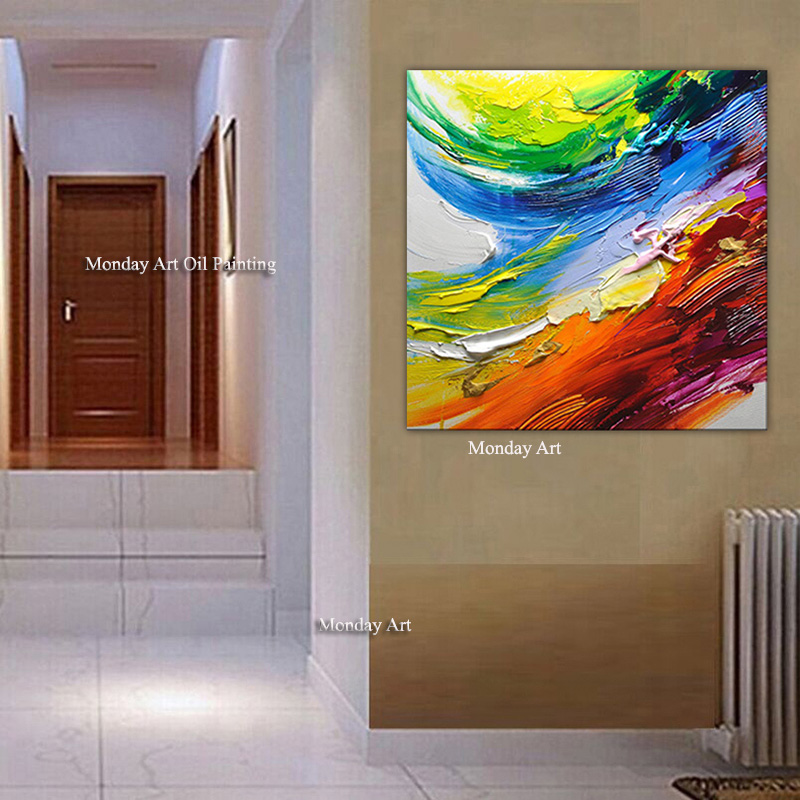 Big Size Decorative Poster Wall Art Canvas knife Oil Painting Modern Abstract Paintings Wall Picture For Living Room Home Decor in Painting Calligraphy from Home Garden