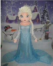 Мультфильм Косплэй принцессы Эльзы костюм талисмана Необычные Вечерние Платье Бесплатная доставка