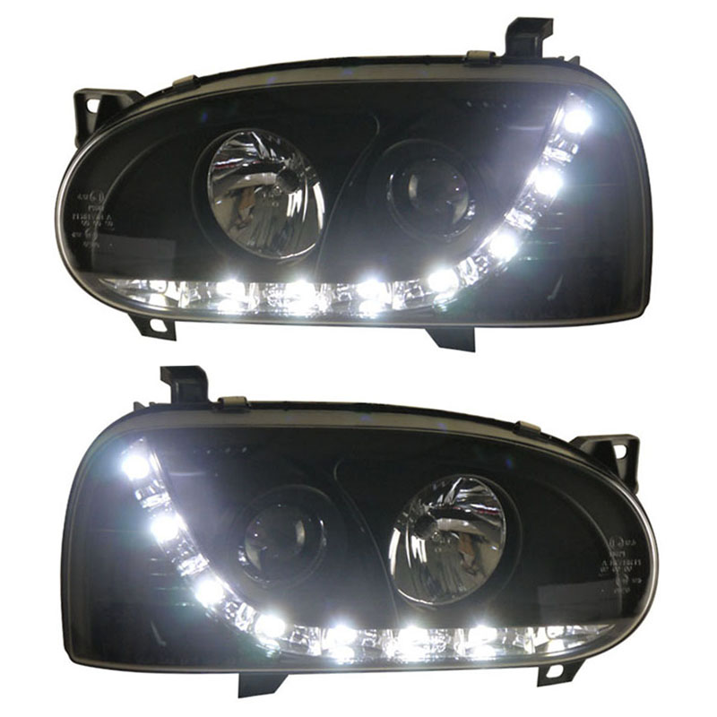 for VW Volkswagen Golf 3 Headlights Assembly with led stripe lights Easy installation car modified lights Re-designed