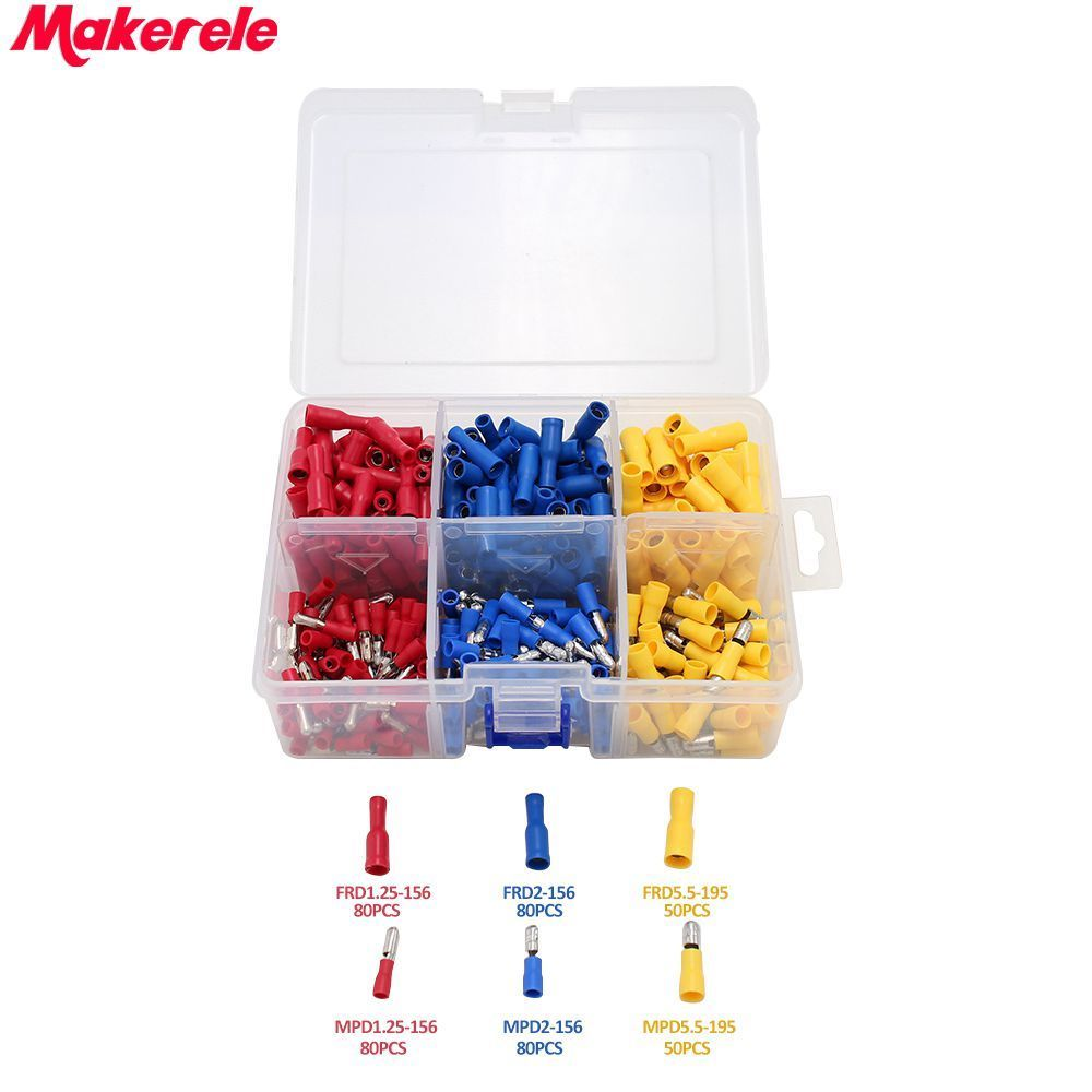 300 pcs/Box Mixed Copper Wire Crimp Tube Connector Spade Insulated Cord Pin End Cable Wire Terminal Electrical Hand Tool Set 800pcs cable bootlace copper ferrules kit set wire electrical crimp connector insulated cord pin end terminal hand repair kit