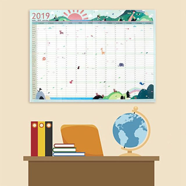 2019 365days Daily Planner Paper Wall Calendar Office School Daily