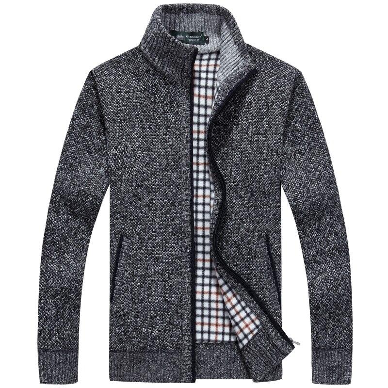 Новый зимний плюс размер мужские свитера мужчины толстая с длинным рукавом шерсть кардиган мужчин свитер куртка повседневная вязаный свитер одежды