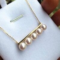 Вечная Свадебная Для женщин подарок Слово стерлингового серебра 925 Настоящее Японии Akoya натуральный морской Жемчужное ожерелье 6.5 7 круг что