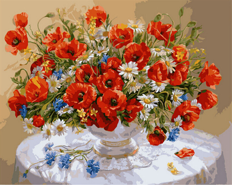 Beautiful Design 40*50cm Frameless Pictures Painting By Numbers Red Flowers Digital Oil Painting On Canvas Home Decoration john bird change your life
