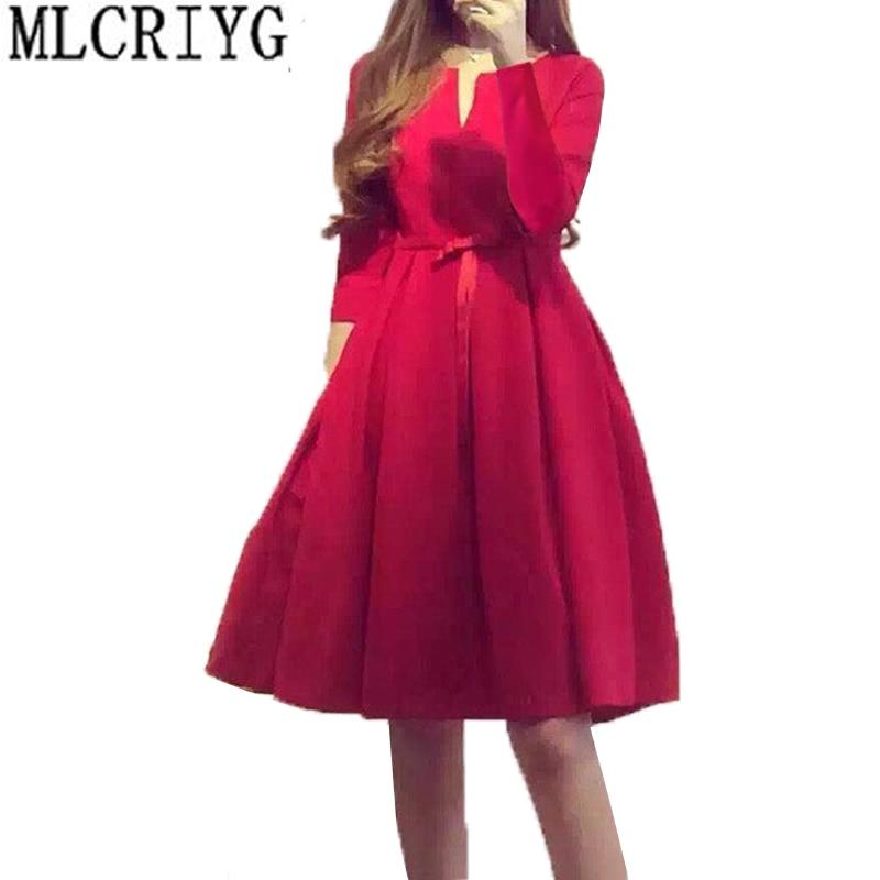 Robe d'été femmes 2019 nouvelle a-ligne o-cou à manches longues Mini robes rouge OL élégant dames décontracté Mini femmes robes Vestidos LX45