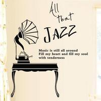 Music Vinyl Wall Decal Jazz Lettering Mural Wall Sticker Music Band Room Wall Sticker Kid's Room Bar Coffee Shop Wall Decoration