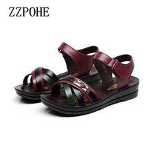 ZZPOHE Летний новый мать Кожаные сандалии большой размер мягкие подошве Стиль женщина сандалии случайные удобные бабушка плоские сандалии