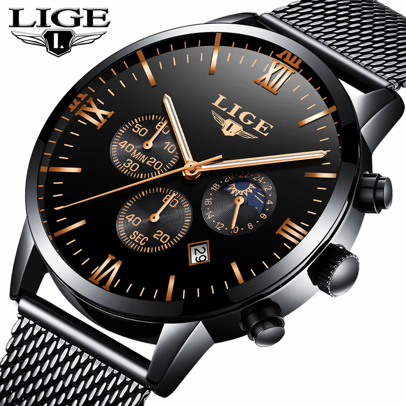 LIGE Mens Watches Top Brand Luxury Casual Quartz Watch Men Steel Mesh Strap Business Waterproof Sports Watches Relogio Masculino a500g mens watches top brand luxury tvg brand men business casual watch stainless steel strap quartz watch fashion sports watche