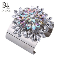 DiLiCa Fashion Wide Bracelet for Women Crystal Flower Alloy Cuff Bangles Bracelets Female Gold Silver Color Wristband
