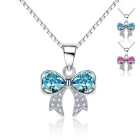 Exquisite 925 Sterling Silver White Gold Plated Crystal Bowknot Necklaces Pendants Sterling Silver Jewelry Accessories Gift