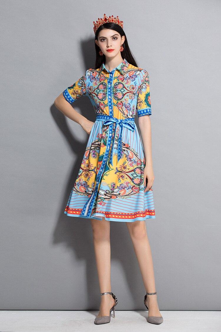 2018 robe d'été nouveau Euro-américain Fusion cubain Rock col à manches courtes manches Slim robe