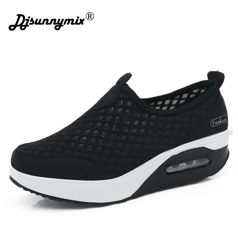 DJSUNNYMIX Brand 2018 Women Casual sneakers Slimming Platform Flat Shoes Fashion Mesh Weaving Breathable Fitness Lady Shoes