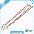 Silver Strap Lanyard Bling Rhinestone Crystal Custom for ID Badge Key Ring Holder free shipping