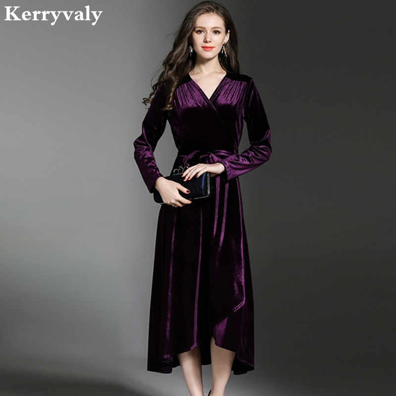 ddb596a681 Winter Big Pendulum Purple Velvet Dresses Woman Dress 2019 Lotus Leaf Long  Sleeve Ladies Dresses Kleider