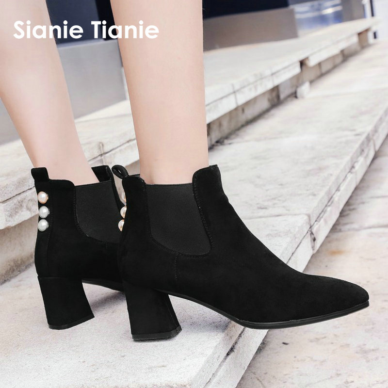 Sianie Tianie 2018 winter black faux suede woman boots chunky high heels pointed toe warm shoes ankle boots with pearls size 44 enmayla autumn winter chelsea ankle boots for women faux suede square toe high heels shoes woman chunky heels boots khaki black