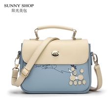 SUNNY SHOP Korean leather bags handbags women famous brands shoulder crossbody bag luxury party designer women messenger bags