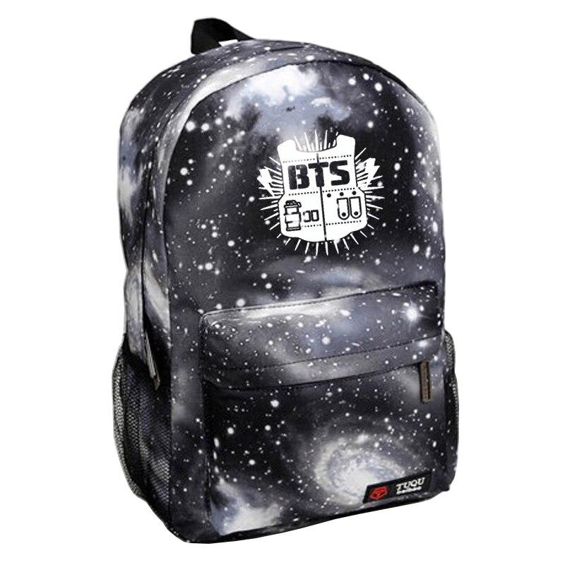 2017 de la lona caliente galaxy impreso bts mochilas escolares bolsa de deporte