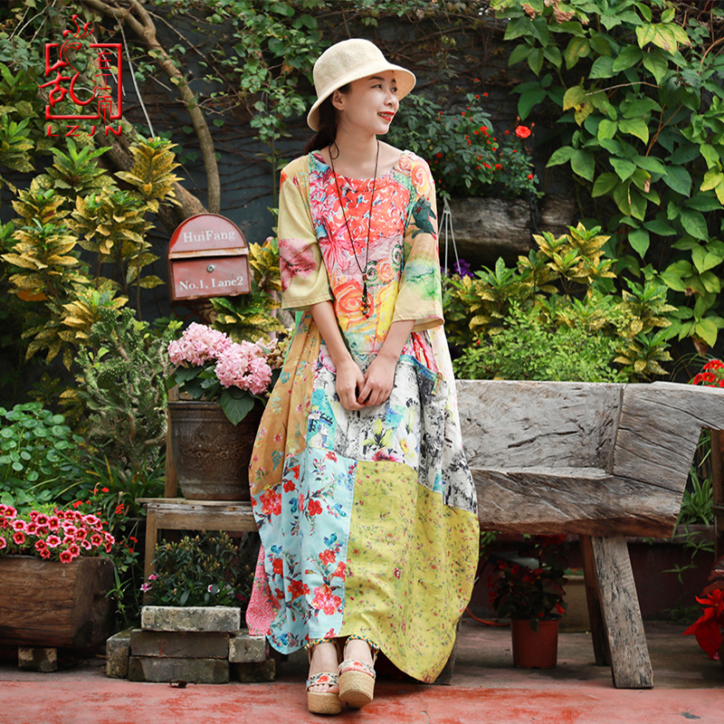 LZJN Women Bohemian Elegant Dress 2019 Summer Casual Loose Half Sleeve Floral Print Patchwork Cotton Linen