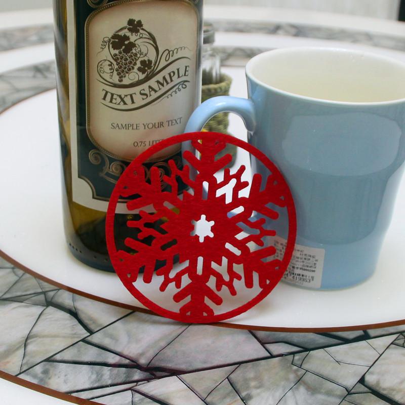 10pcs/lot Snowflakes Cup Pad Mat Fabric Dinner Party Table Coasters Dish  Pad Merry Christmas Deco