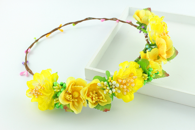 Yellow color wedding bridal flower hair accessory big flower tiaras yellow color wedding bridal flower hair accessory big flower tiaras fabric flower crowns handcrafted woman girls mightylinksfo