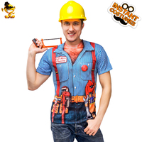 Carnival Party Men's Construction Worker T shirt Clothing Role Play Funny Stripe Career Worker Printed T shirt Costume