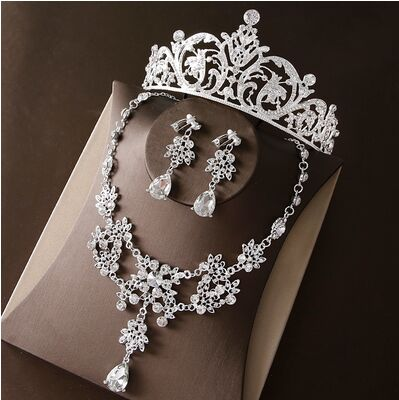 2017 New Silver Crystal Necklace Earrings for Women Wedding Jewelry Sets Whit K Plated Bridal Jewelry Sets With Tiaras & Crowns (1)