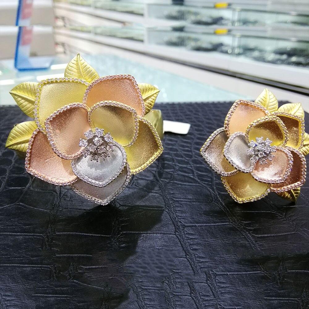 GODKI Luxury 3Tone Flower Nigeria Bangle Ring Set Jewelry Set For Women Wedding Cubic Zircon Crystal CZ Dubai Bridal Jewelry SetGODKI Luxury 3Tone Flower Nigeria Bangle Ring Set Jewelry Set For Women Wedding Cubic Zircon Crystal CZ Dubai Bridal Jewelry Set