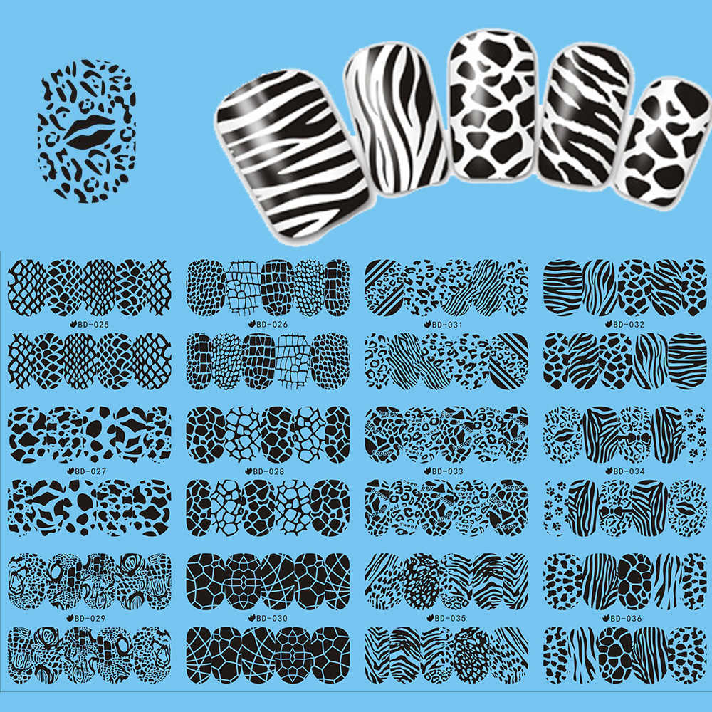 12 Stks/partij Luipaard Print Water Transfer Nail Art Sticker Mix Dieren Volledige Wraps Black Lace Nail Art Decorations Decal JIBD025-036
