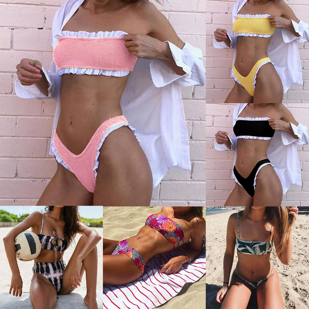 <font><b>16</b></font> Color <font><b>Sexy</b></font> Ruffle Push Up Swimsuit Women Swimwear Bandeau Thong Brazilian Micro <font><b>Bikini</b></font> Set Beachwear Yellow Bathing Suit 2018 image