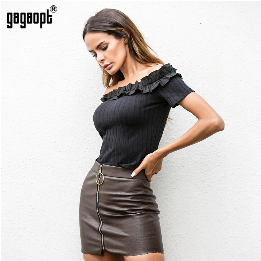 Gagaopt 2018 Slash Neck Top Off Shoulder Sexy Short Pullovers Knitted Crop Top Solid Women Blouse Blusa Sueter