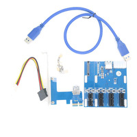 PCI e Express To 4 Port PCI Express 1X Slot Multiplier HUB Riser Adapter Card With SATA 15pin & 4pin Power Supply USB 3.0 Cable