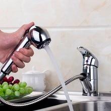 Латунь Кухня кран вытащить смеситель холодной и горячей Кухня нажмите на одно отверстие водопроводной воды на бортике torneira Cozinha