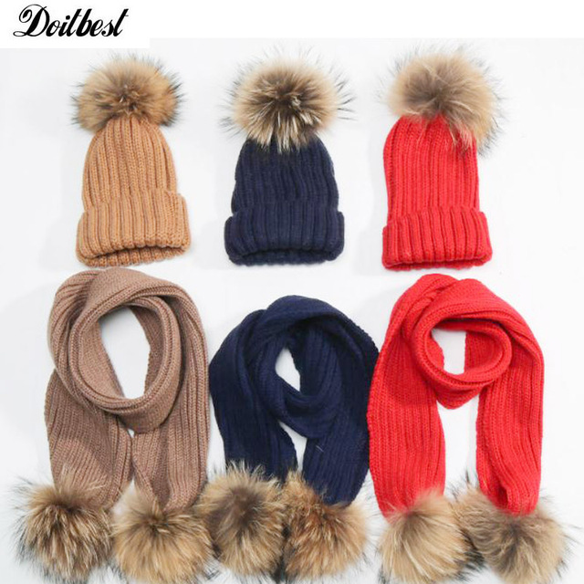 ab81d28731c Girls Children Acrylic Scarves Hats Sets 15CM Raccoon Fur Pom Pom wool kids  boys Knitted winter hat Age for 2-6 Years old