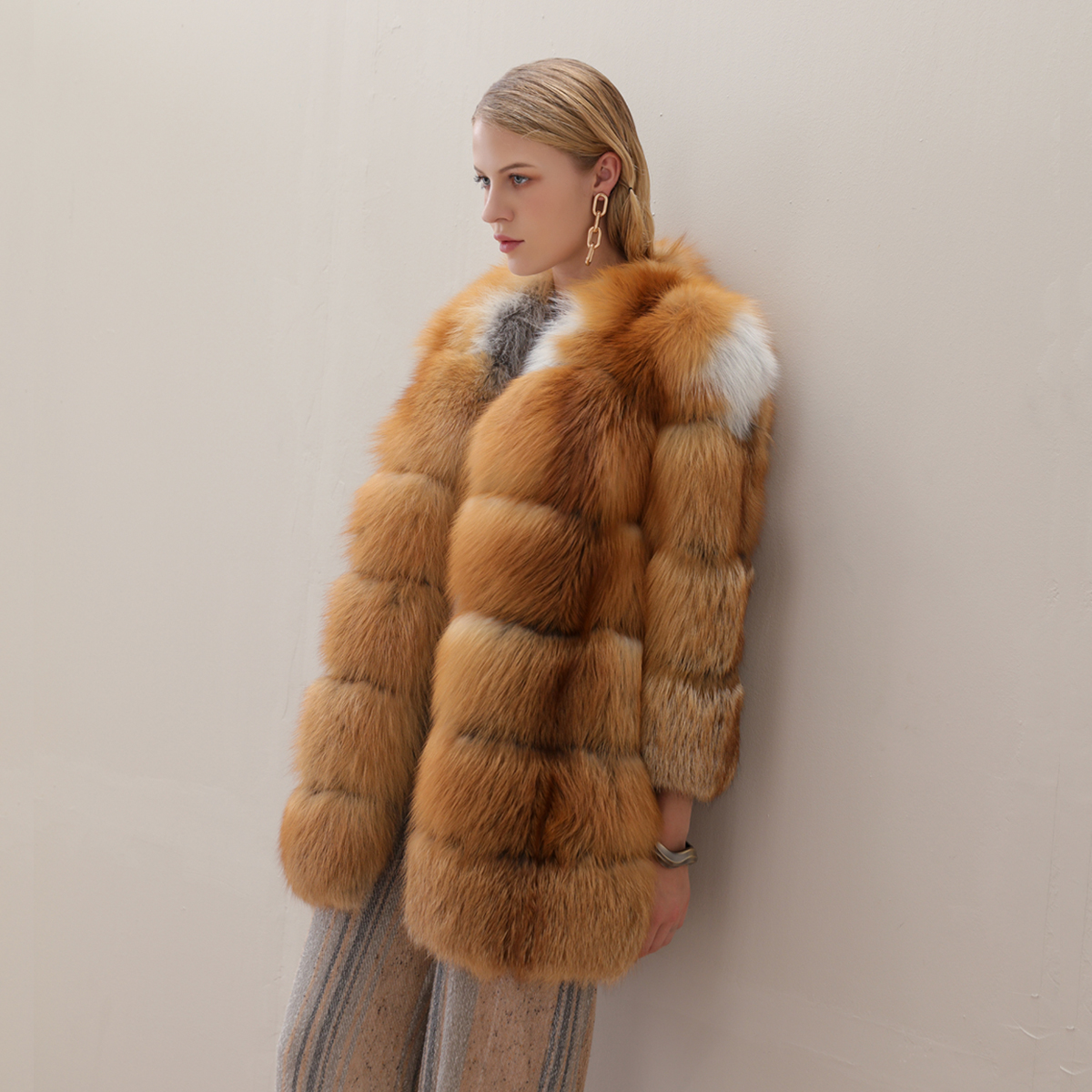 Qiu dong fox fur import long fox fur coat sleeve of the nine