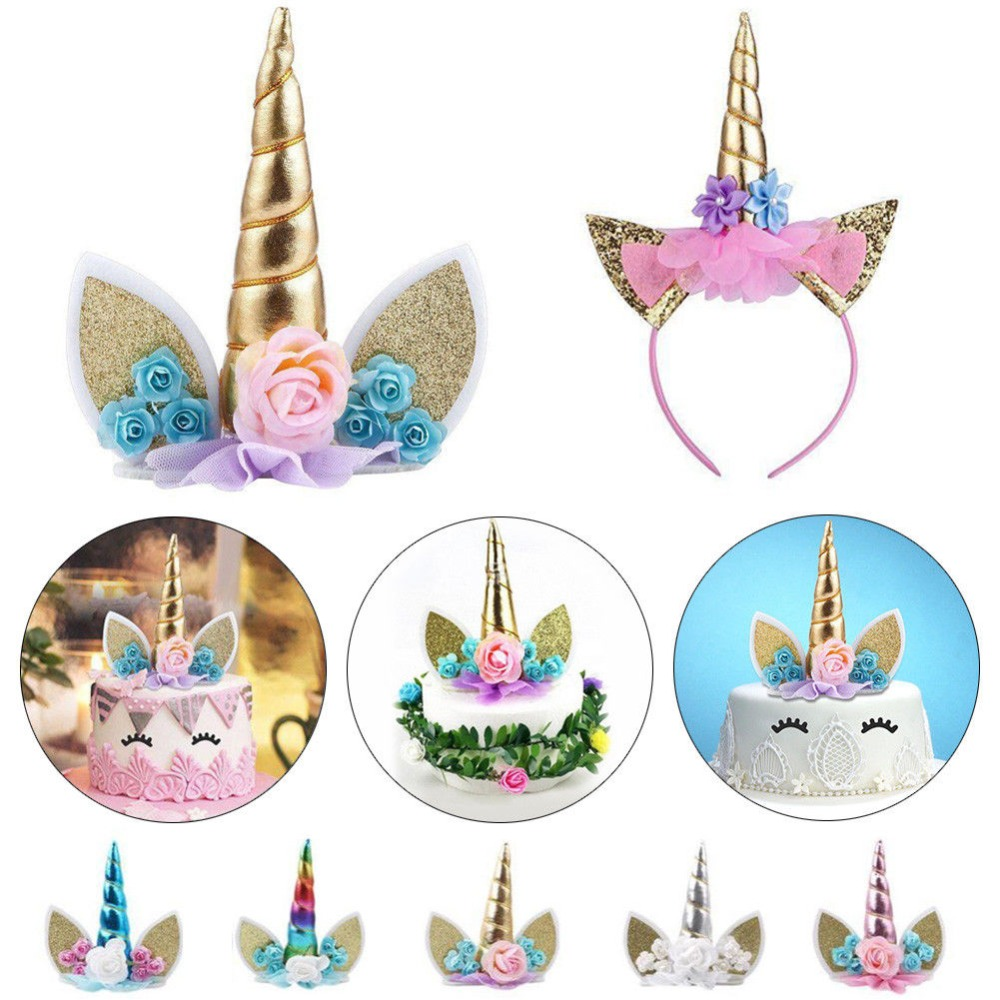 Magic party Halloweem kids girls party gold headband Christmas beautiful Unicorn Headwear